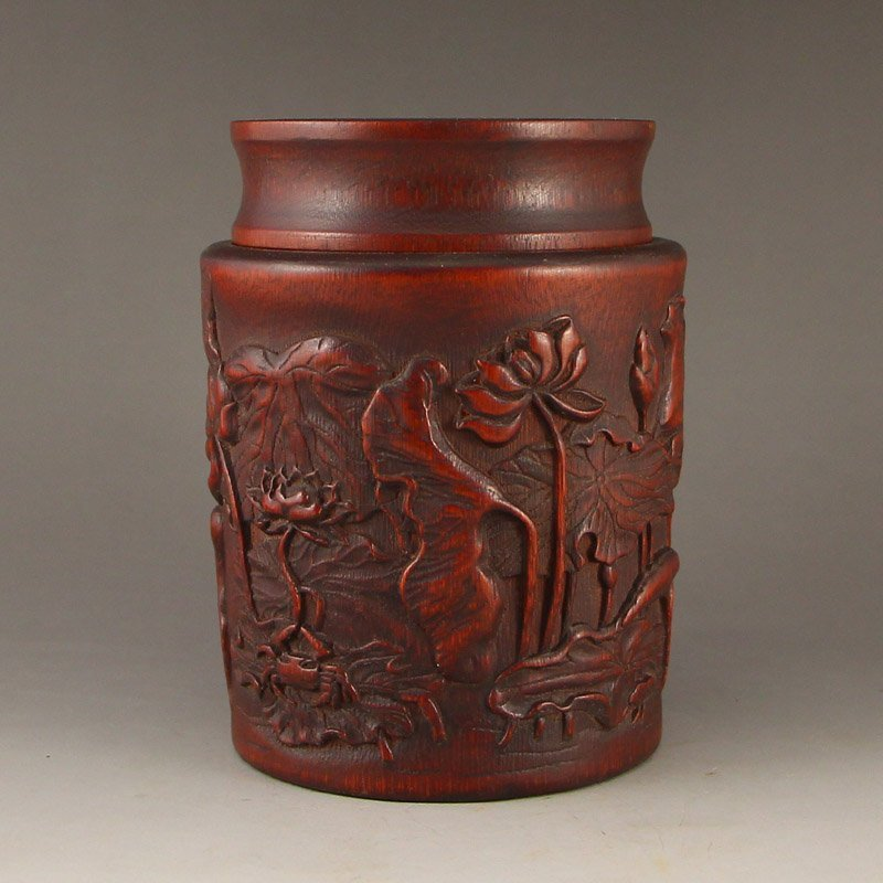 Vintage Chinese Bamboo Root Tea Caddy