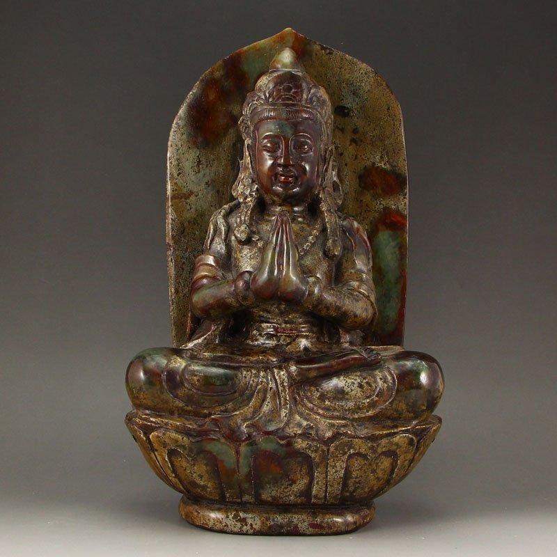 Vintage Chinese Hetian Jade Statue - Kwan-yin