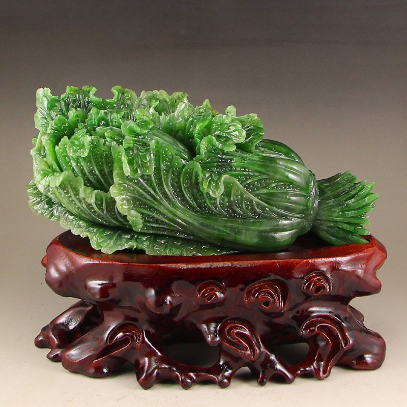 Chinese Green Hetian Jade Fortune Cabbage Statue