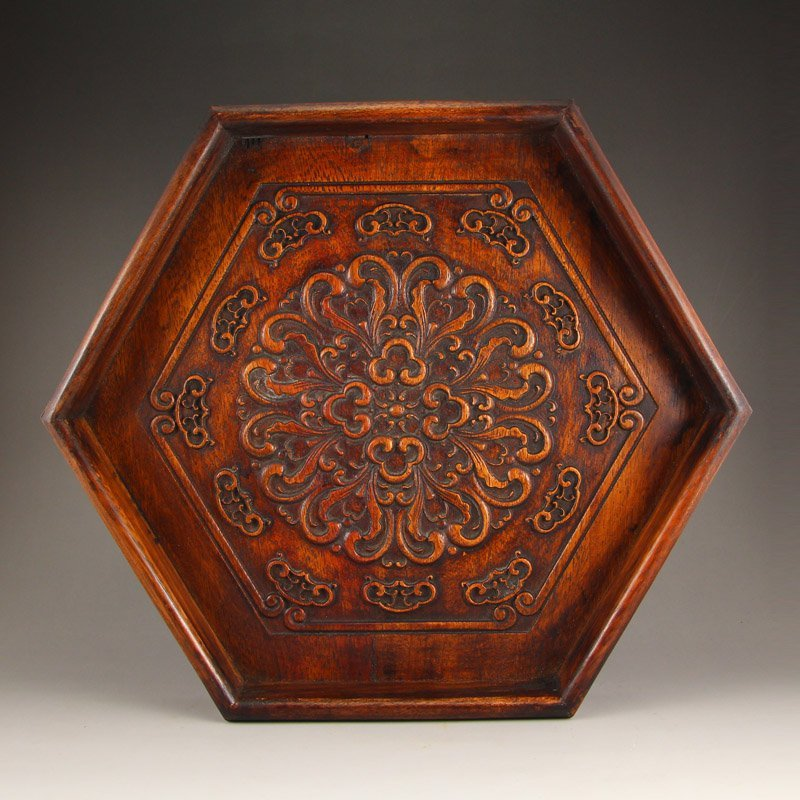 Vintage Chinese Zitan Wood Tea Tray