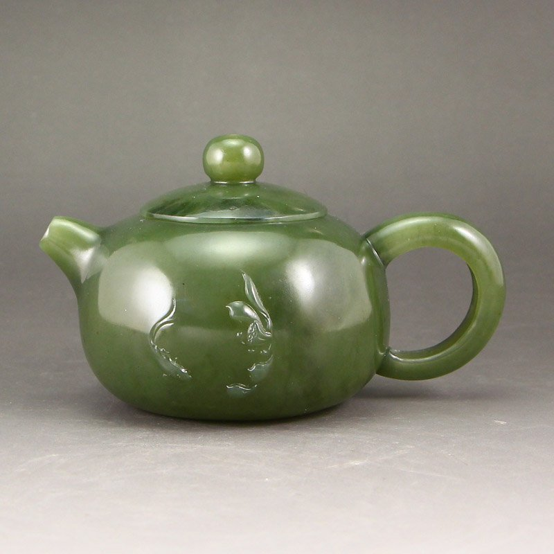 Chinese Green Hetian Jade Teapot - Fish & Lotus Flower