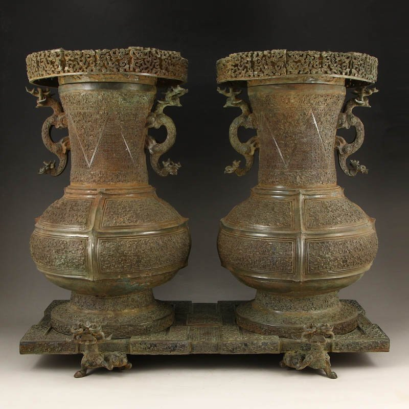 A Pair Vintage Chinese Bronze Double Ears Vases & Lid