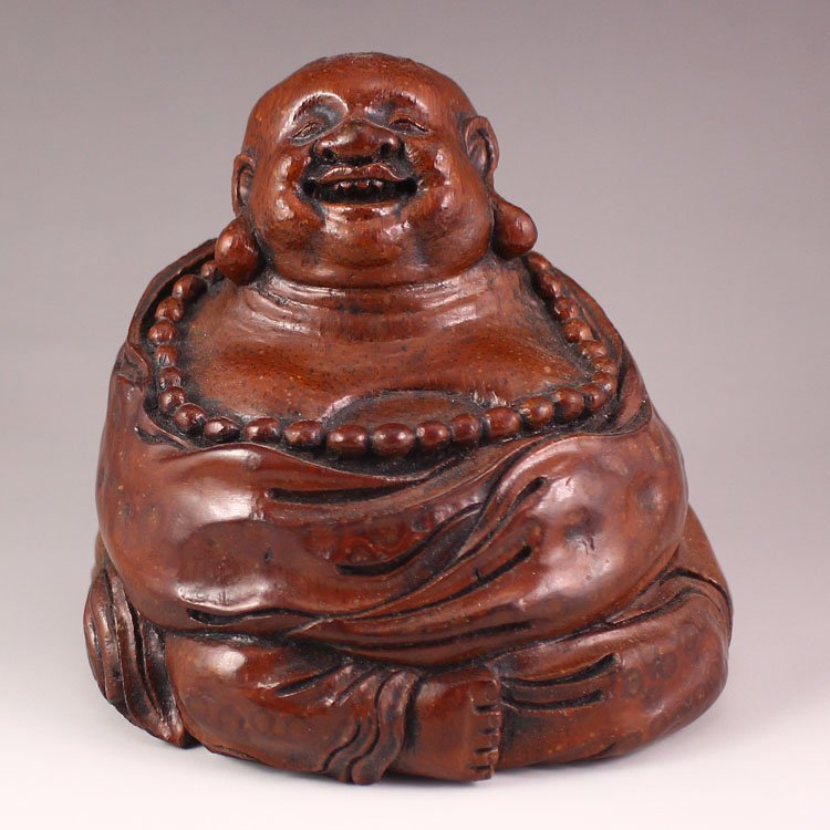 Vintage Chinese Bamboo Root Statue - Laughing Buddha