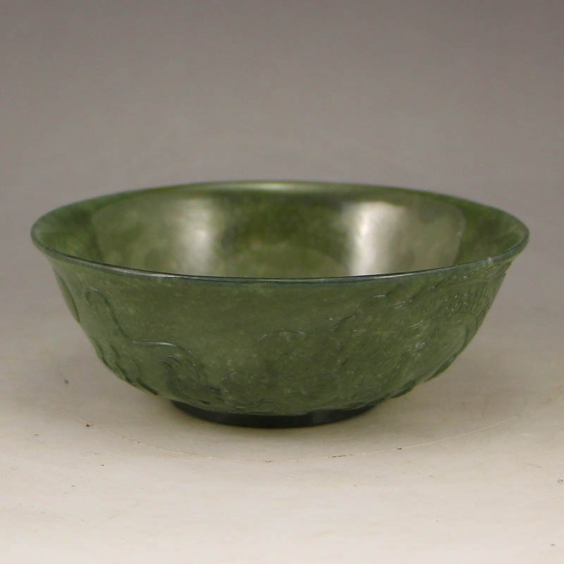 Chinese Qing Dy Green Hetian Jade Bowl