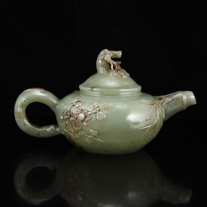 Chinese Qing Dy Hetian Jade Plum Flower Teapot