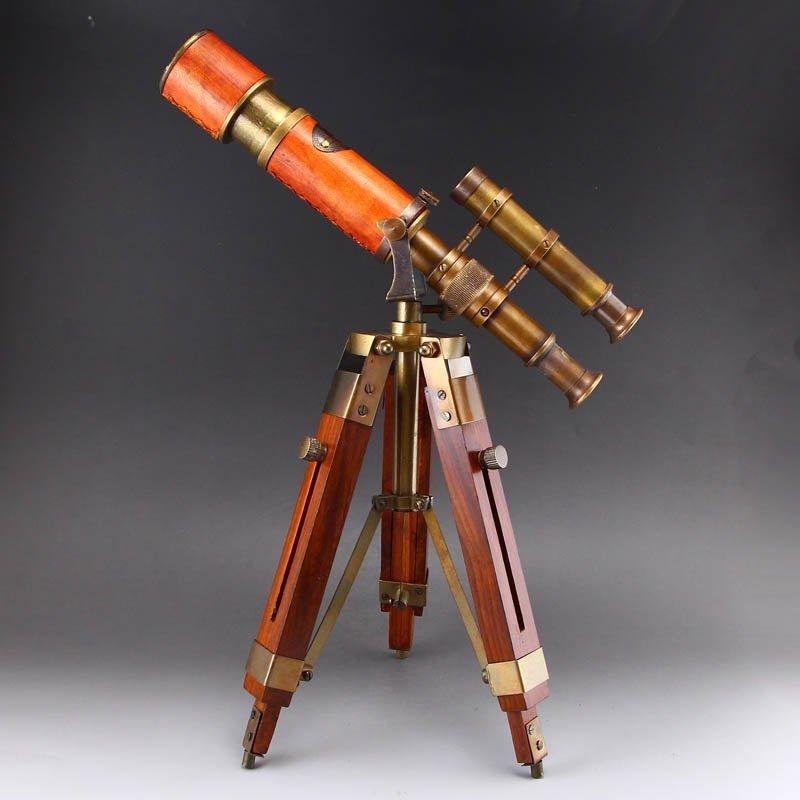 Vintage Chinese Brass Telescope w Hard Wood Trestle