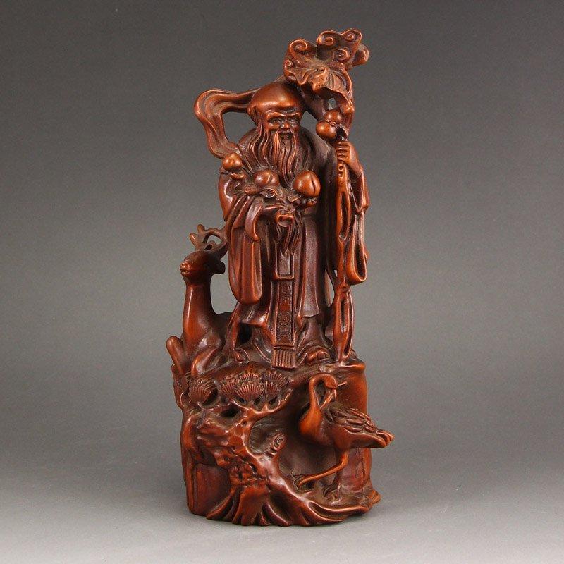 China Boxwood Wood Longevity Taoism Deity & Deer Statue