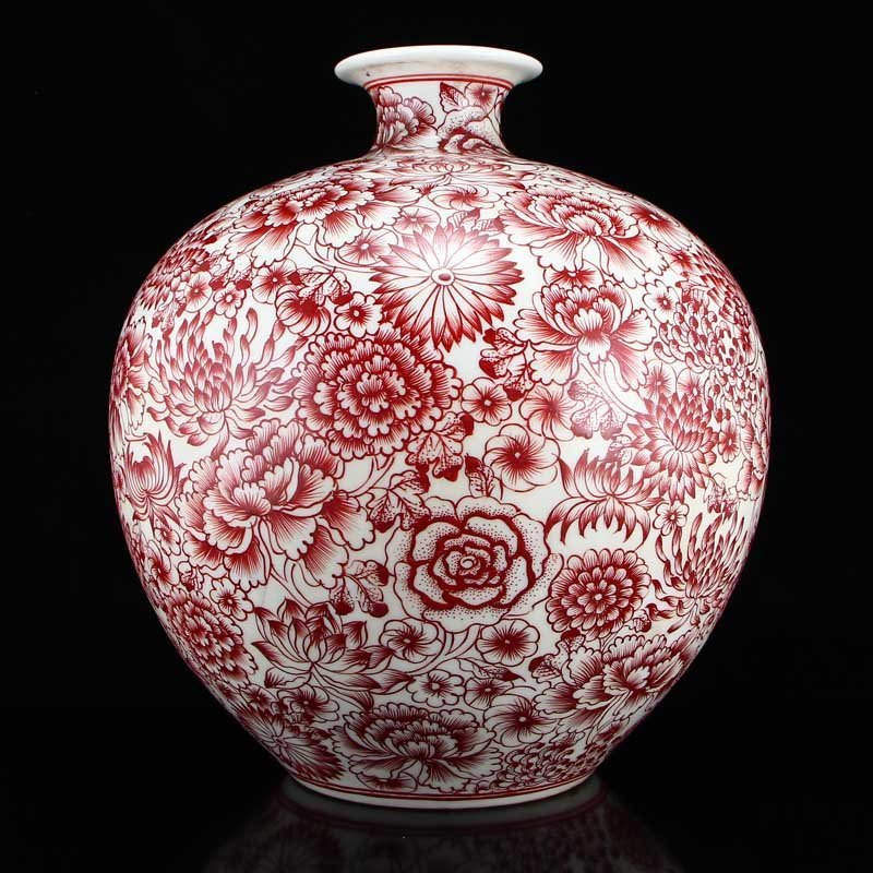 Chinese Qing Dy Red Glaze Porcelain Vase