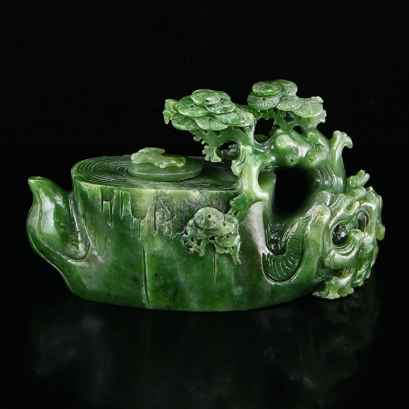 Chinese Natural Green Hetian Jade Teapot - Pine Tree