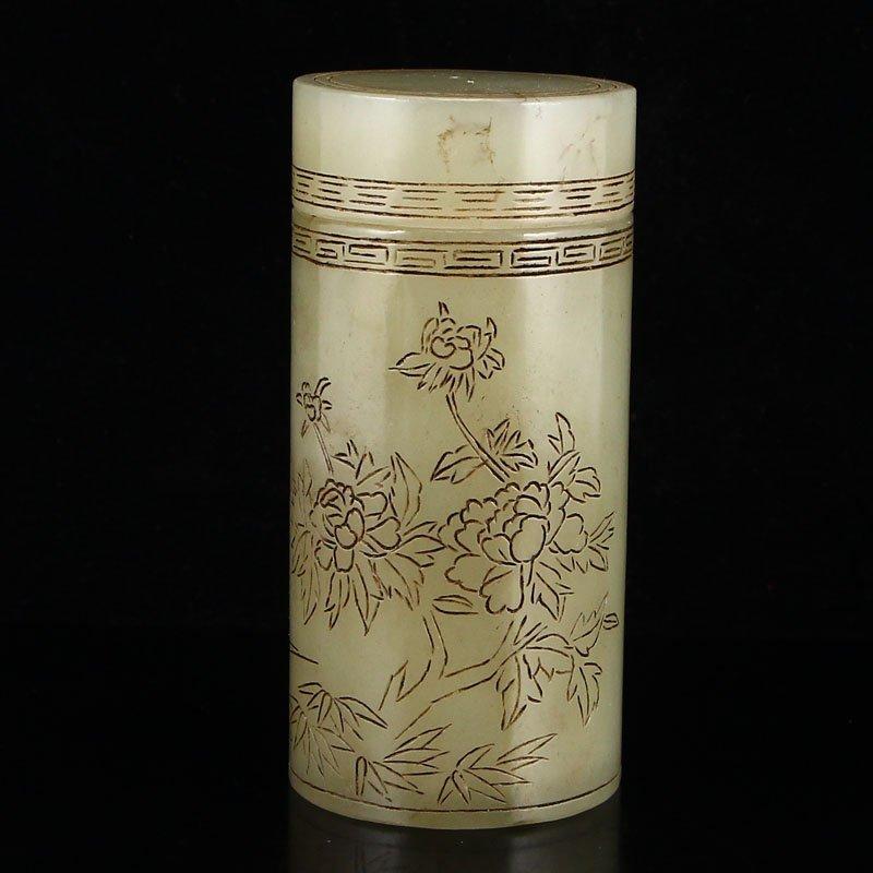 Vintage Chinese Hetian Jade Poetice Prose Tea Caddy