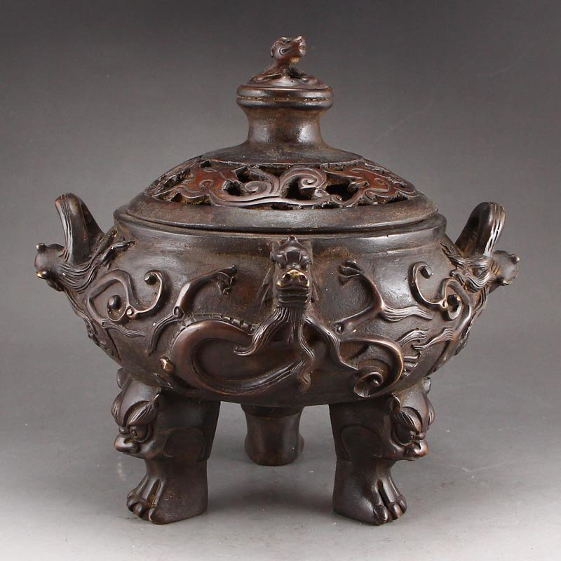 Chinese Red Copper Lucky Dragons Incense Burner