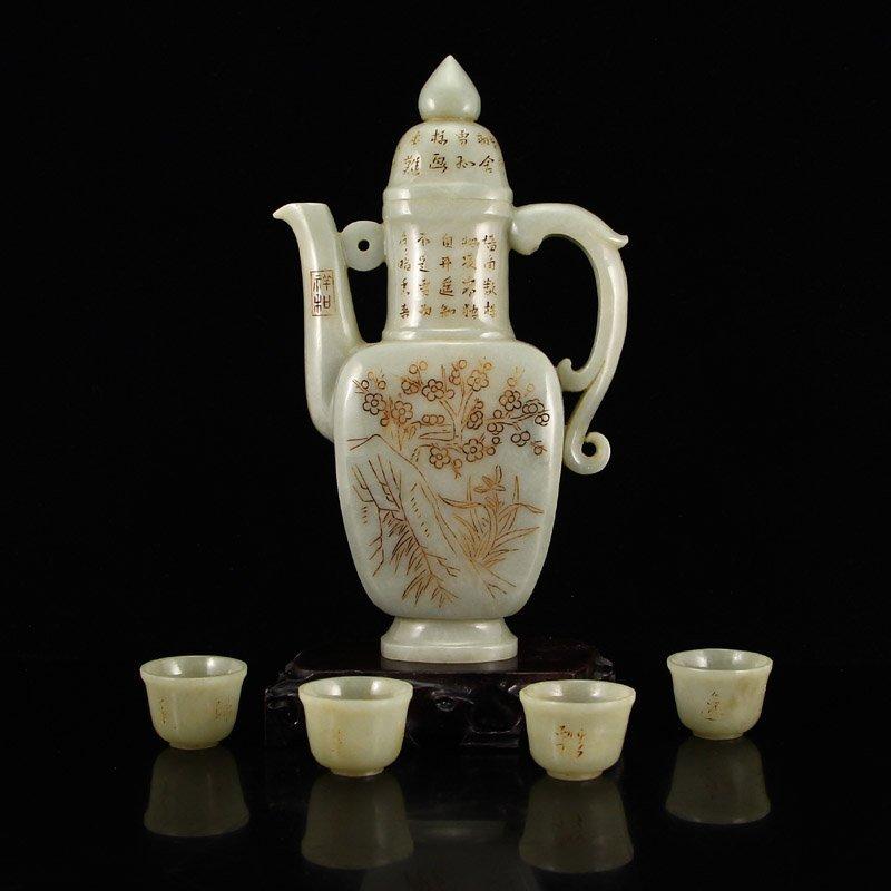 A Set Chinese Hetian Jade Low Relief Wine Pot & Cups