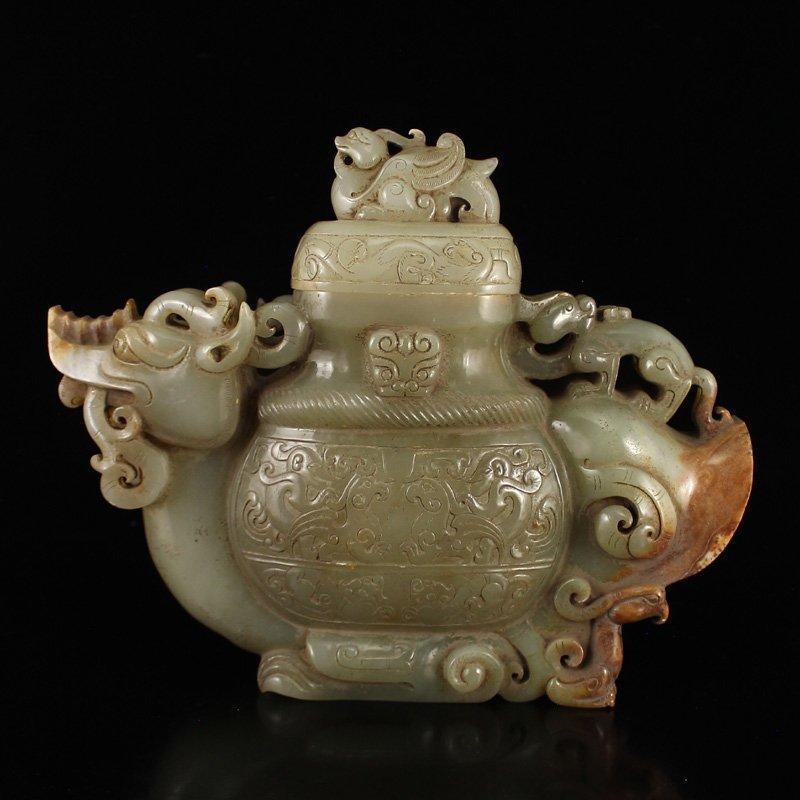 Chinese Han Dy Hetian Jade Incense Burner