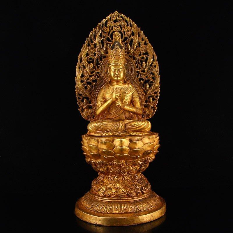 Chinese Ming Dy Gilt Gold Bronze Buddha Statue