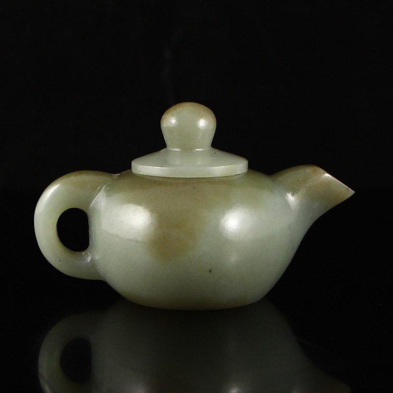 Chinese Natural Hetian Jade Teapot