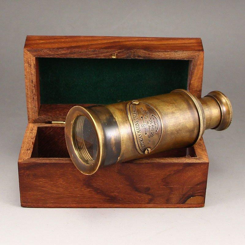 Vintage Chinese Brass Telescope w Zitan Wood Box