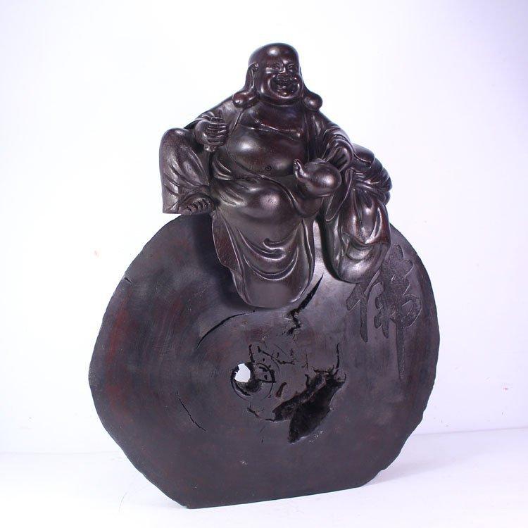 Chinese Zitan Wood Laughing Buddha Statue
