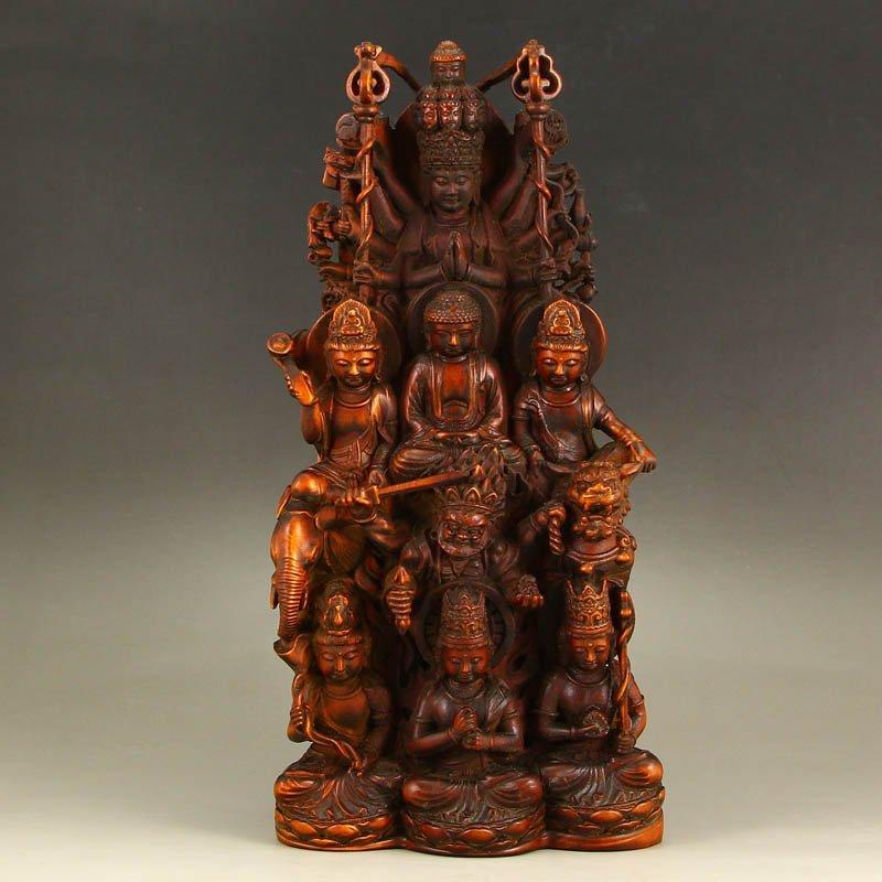 Chinese Boxwood Wood Buddhism Eight Buddhas Statue
