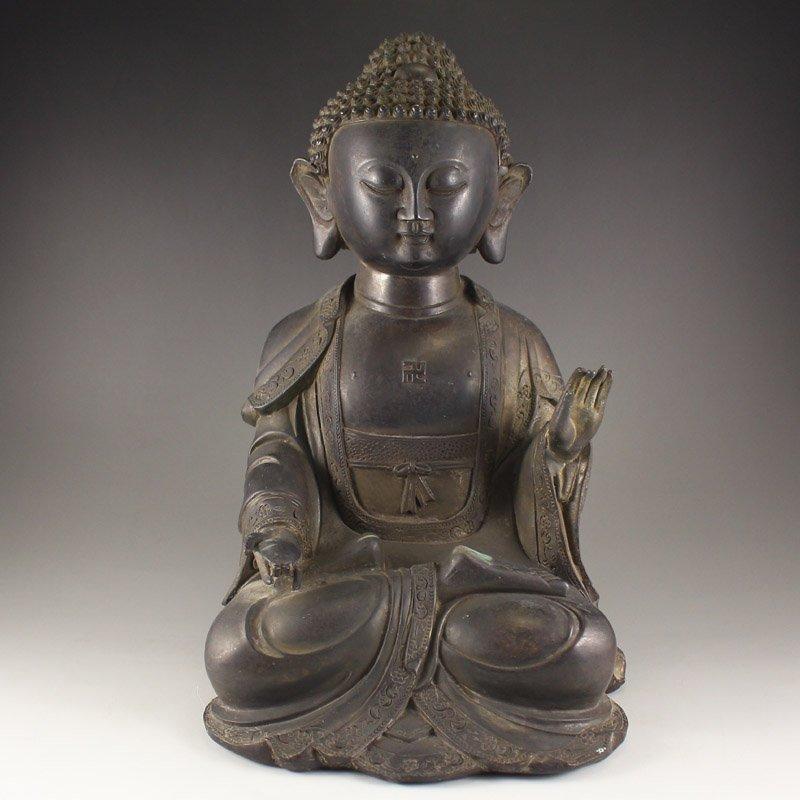 Chinese Ming Dy Red Copper Siddhartha Buddha Statue