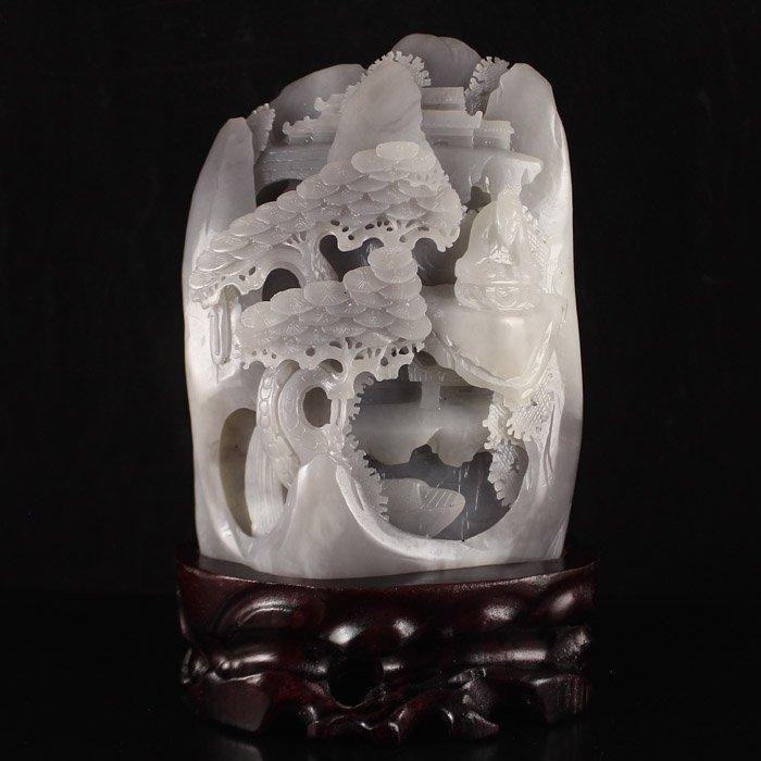 Chinese Hetian Jade Statue - Old Man & Pine Tree