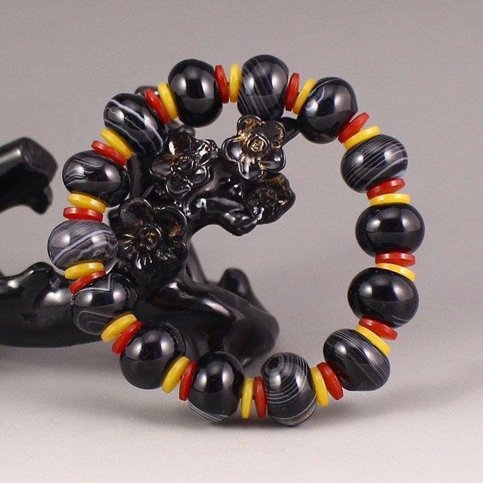 Beautiful Design Chinese Black Agate Beads Bracelet