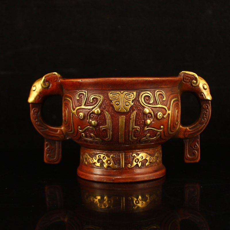 Vintage Chinese Gilt Gold Red Copper Double Ears Bowl