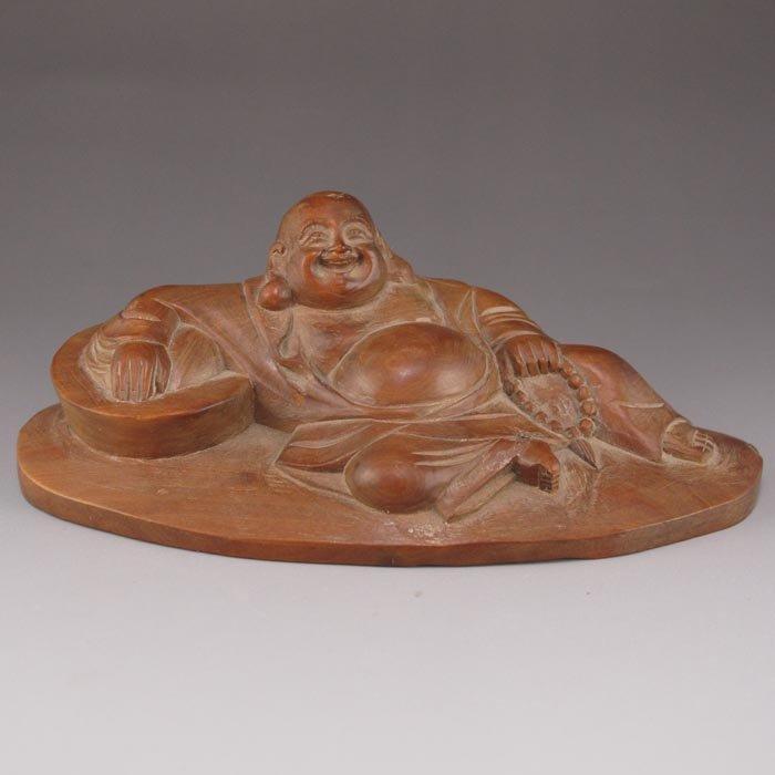 Chinese Boxwood Wood Hard Wood Laughing Buddha Statue