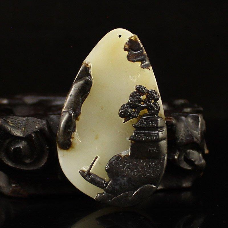 Chinese Hetian Jade Pendant - Mountain Village Scenery