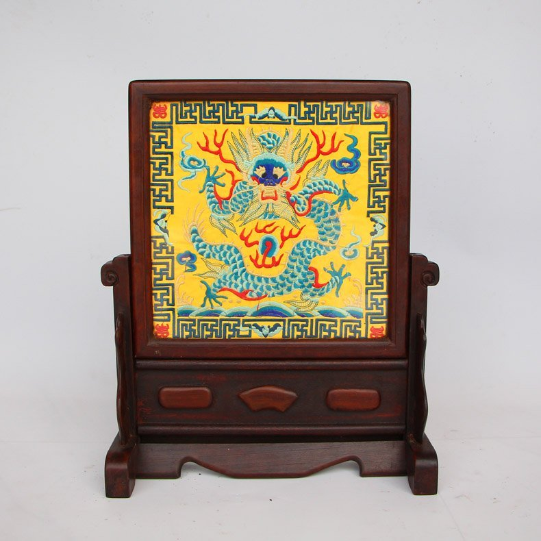 Chinese Embroidery Dragon Screen & Zitan Wood Frame