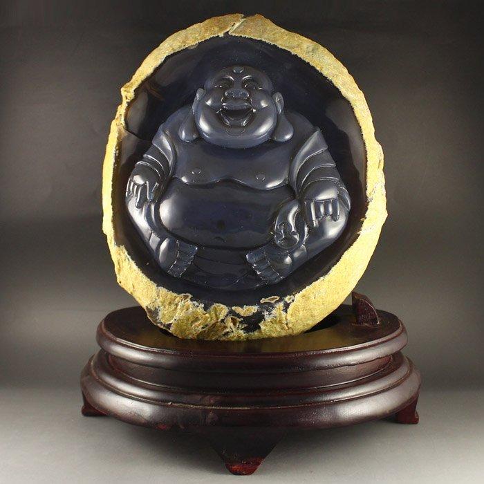 Chinese Water Bile Agate Laughing Buddha Statue