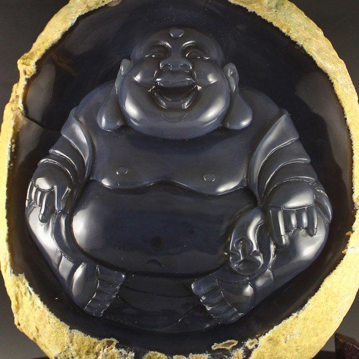Chinese Water Bile Agate Laughing Buddha Statue - 4