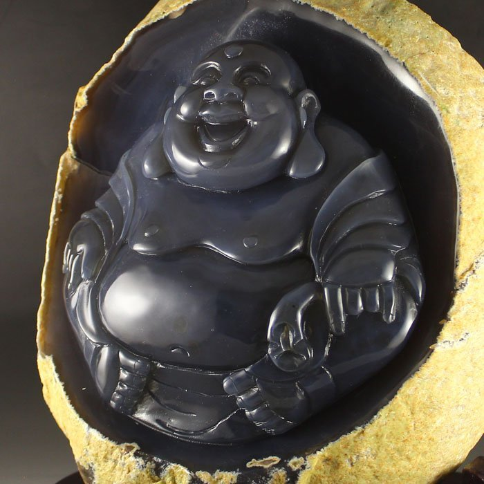 Chinese Water Bile Agate Laughing Buddha Statue - 6