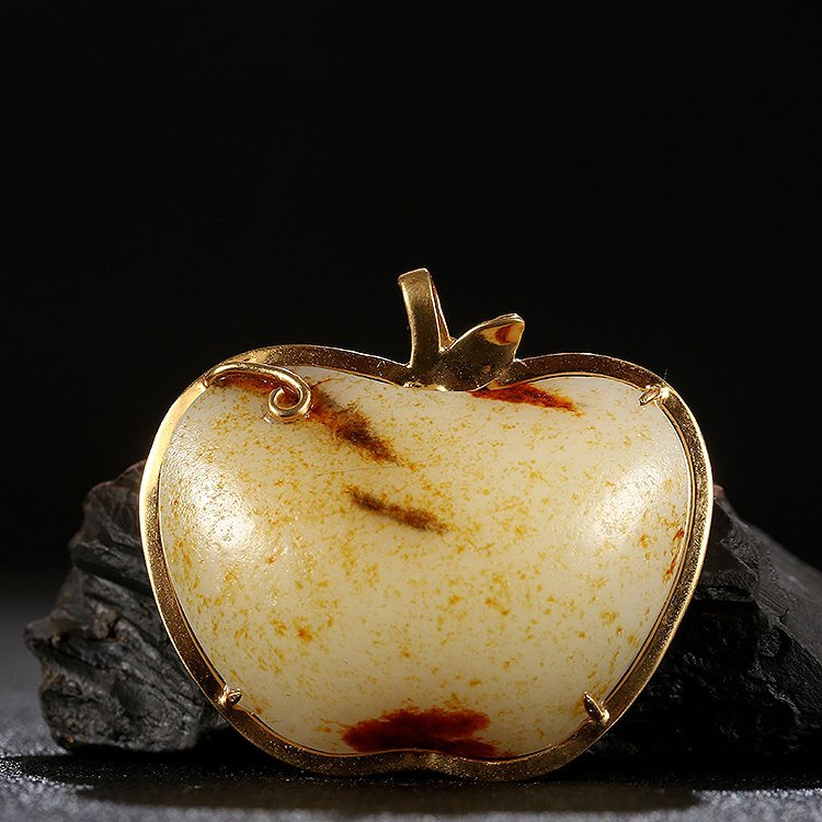 Superb 18K Gold Inlay Hetian Jade Apple Pendant