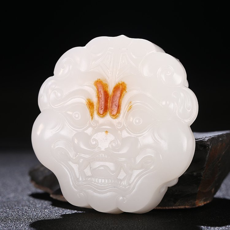 Superb Chinese White Hetian Jade Beast Head Belt Buckle