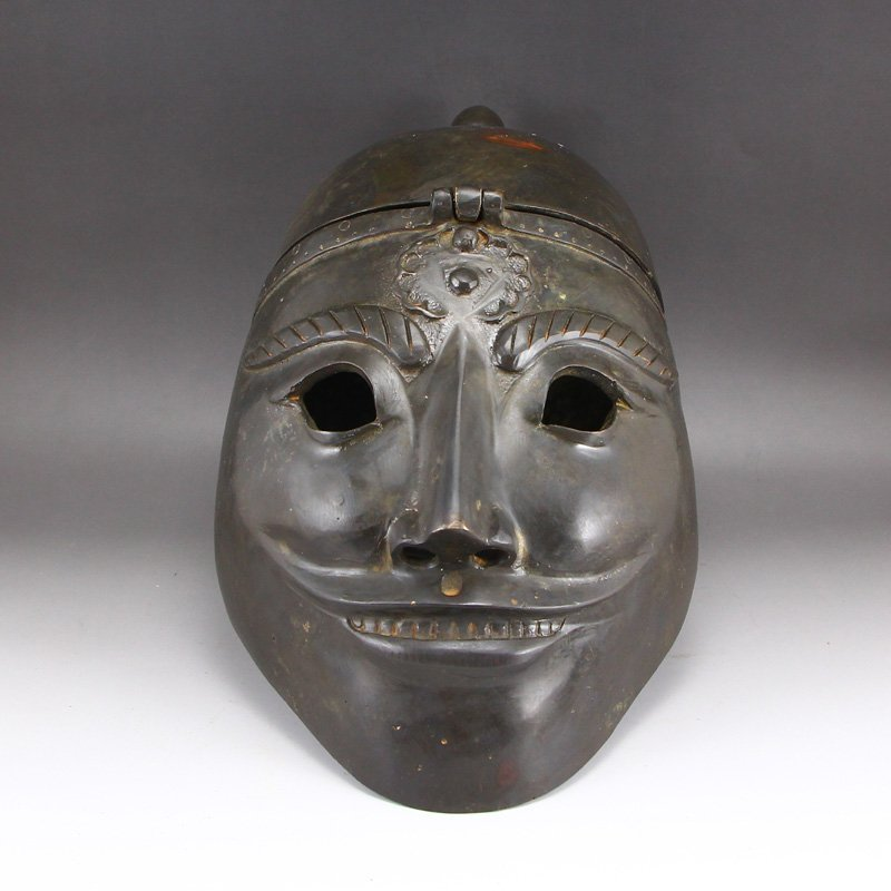 Chinese Han Dy Bronze Armet & Mask