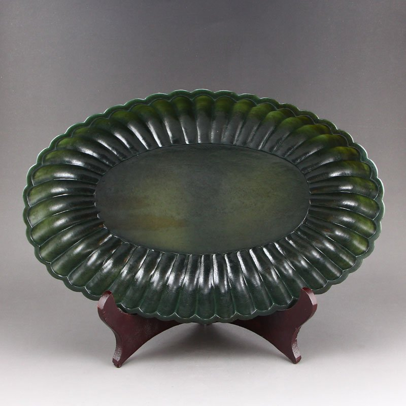 Chinese Natural Green Hetian Jade Brush Washer