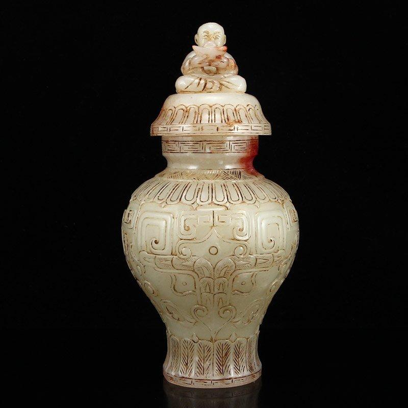 Vintage Chinese Qing Dy Hetian Jade Vase - Fortune Kid
