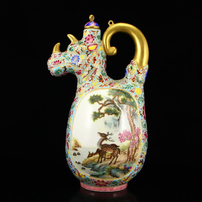 Chinese Gilt Gold Famille Rose Porcelain Wine Pot