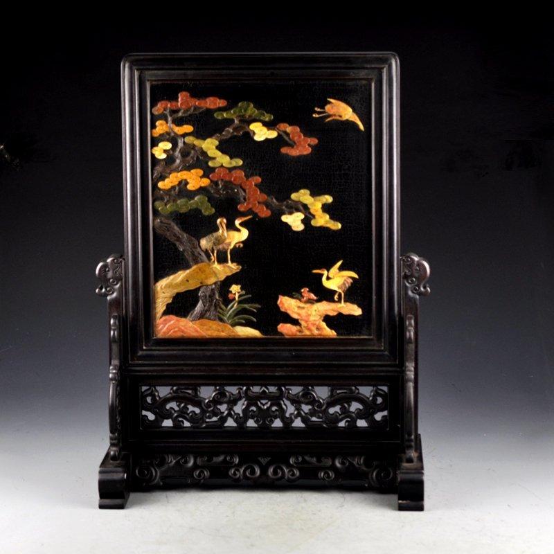 Vintage Chinese Zitan Wood Inlay Shells Screen