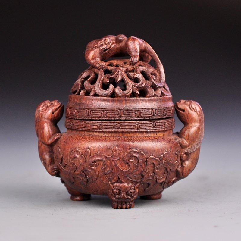Openwork Vintage Bamboo Chi Dragons Incense Burner
