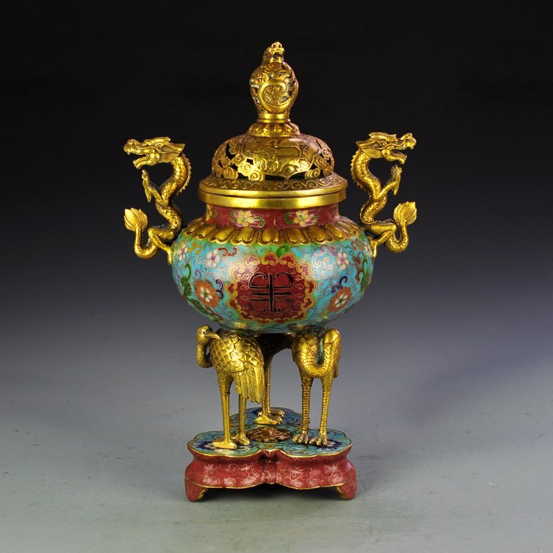 Chinese Bronze Cloisonne Double Dragons Incense Burner