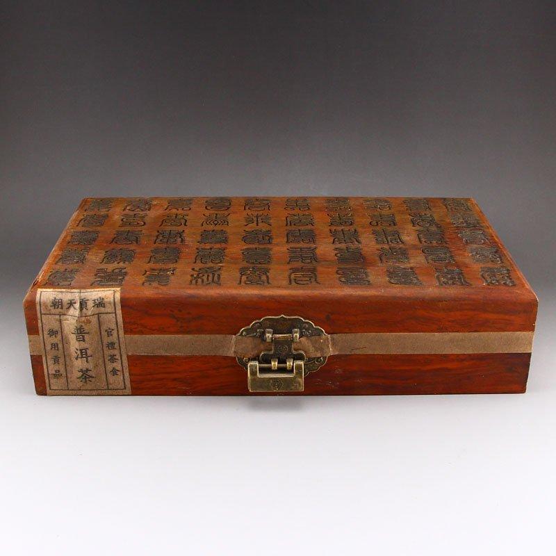 Chinese Antique Pu 'er Tea Seal In Zitan Wood Box