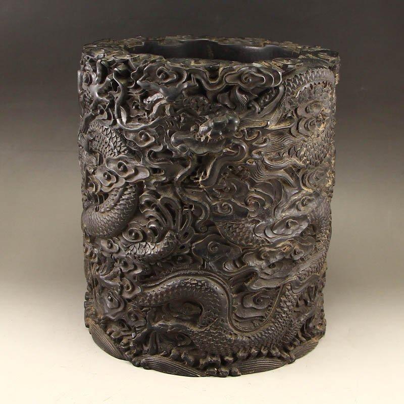 Superb Chinese Qing Dy Zitan Wood Brush Pot