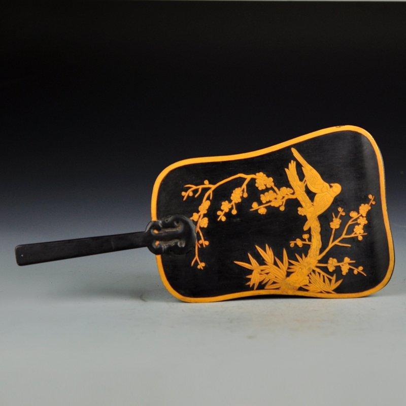 Vintage Chinese Zitan Wood Inlay Bamboo Fan