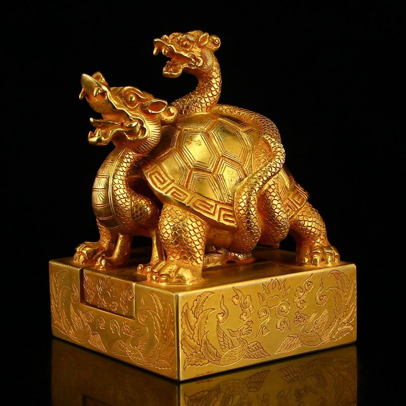 Chinese Liao Dy Gilt Gold Red Copper Dragon Turtle Seal
