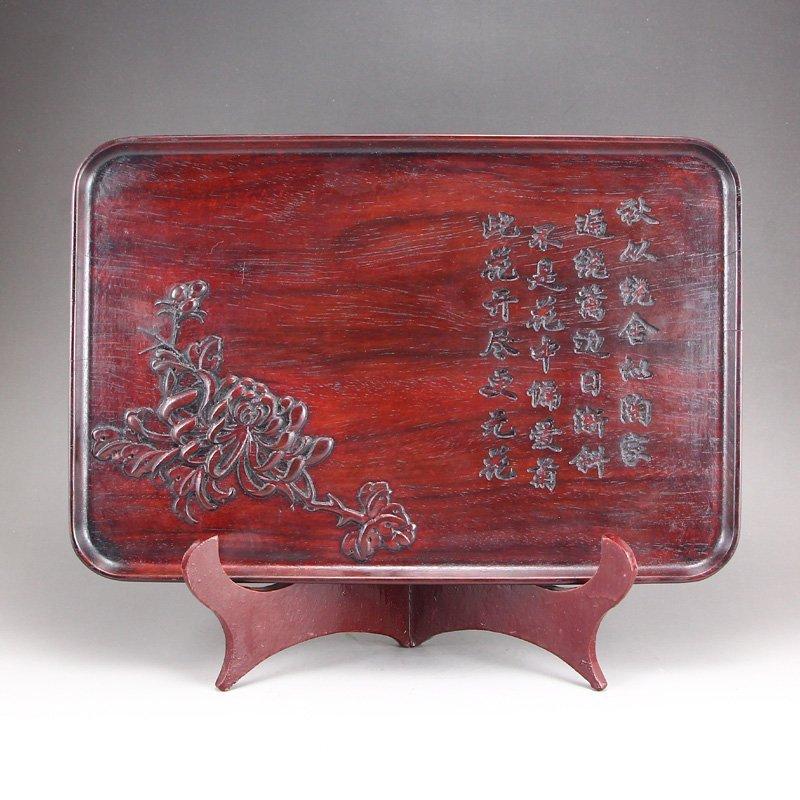 Vintage Zitan Wood Low Relief Poetic Prose Tea Tray