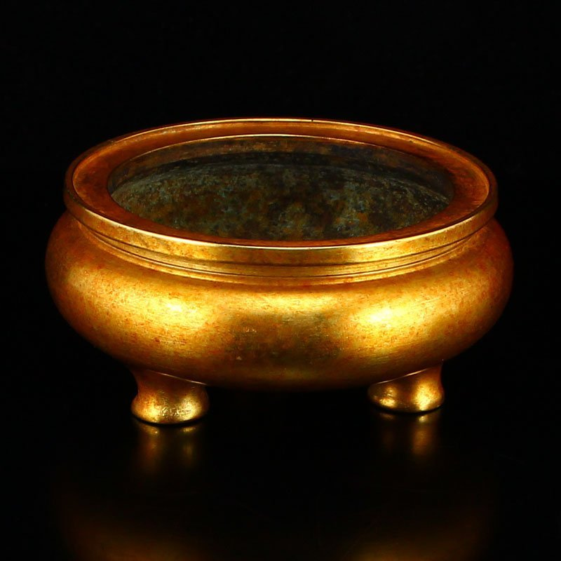 Vintage Chinese Gilt Gold Bronze 3 Legs Incense Burner