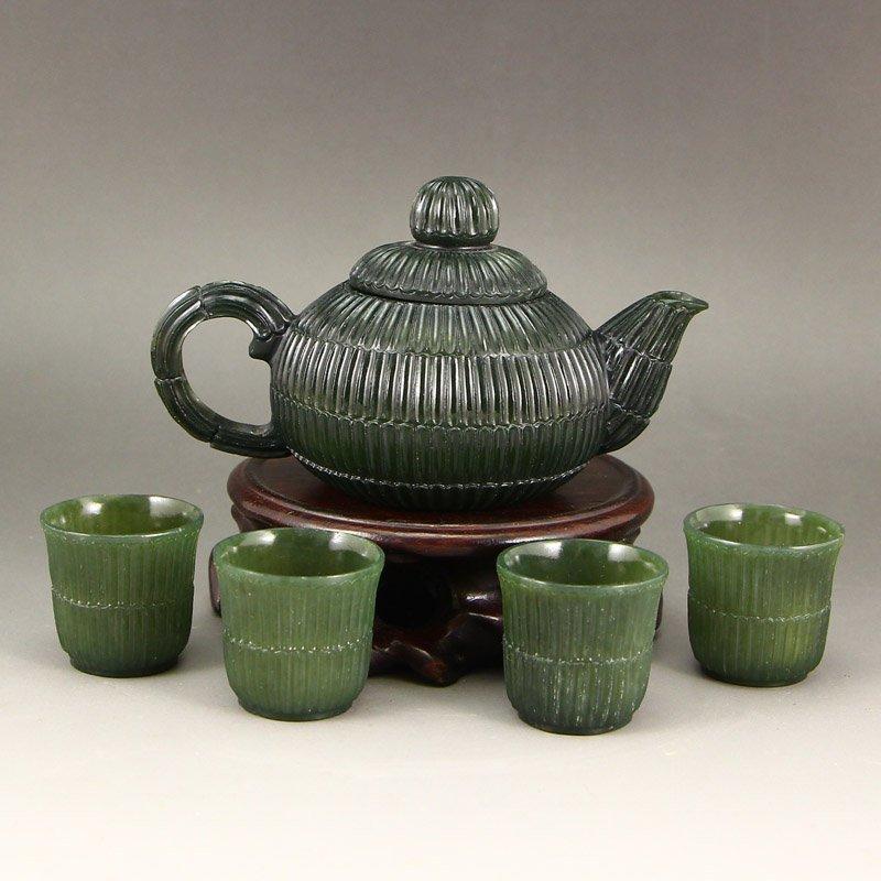A Set Chinese Deep Green Hetian Jade Teapot & Cups