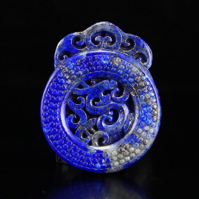 Chinese Natural Lapis Lazuli Chi Dragon Pendant