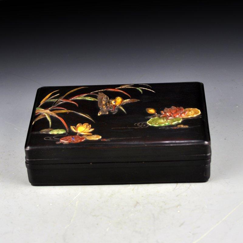 Chinese Qing Dy Zitan Wood Inlay Shells Jewelry Box